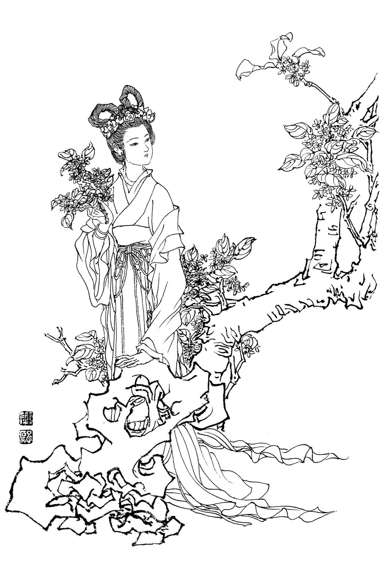 工笔画神话人物白描线稿素材高清图