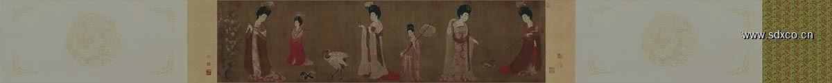 唐 周肪 簪花仕女图卷(全卷)绢本182x46.4传世名画辽博