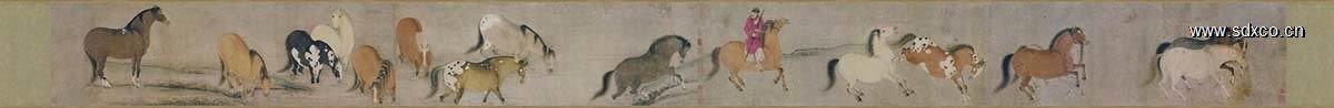 唐 韩干 十六神骏图卷(全卷)纸本27x333
