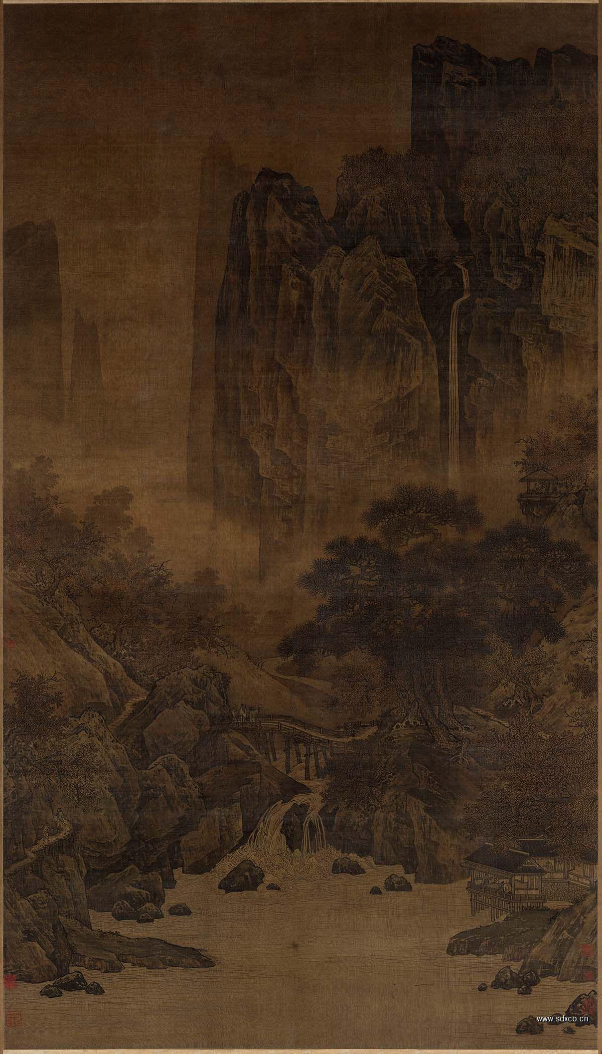 (玄)秋山红树图