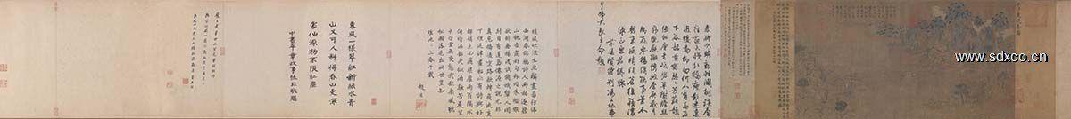 隋 展子虔 游春图全卷绢本43x80