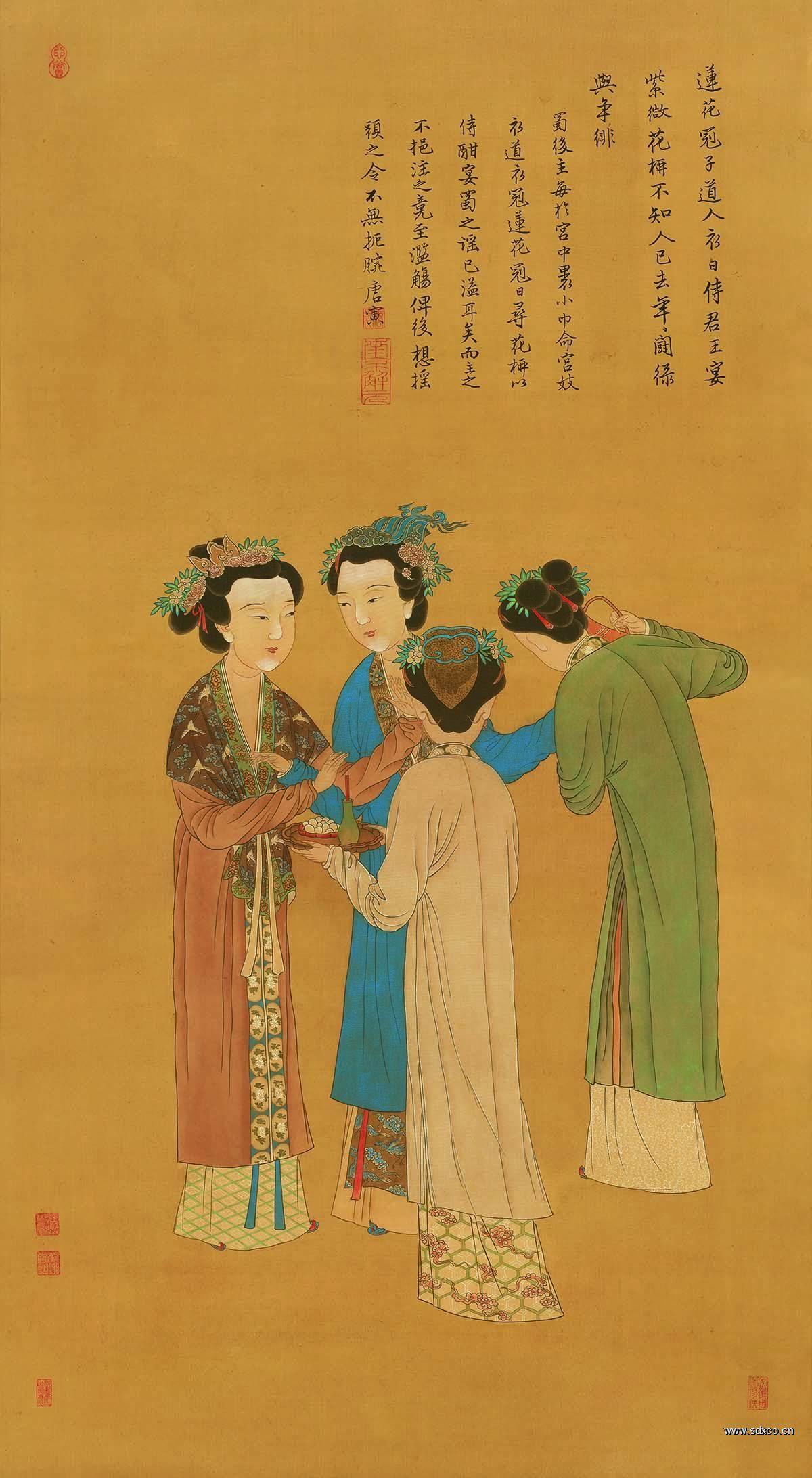 (玄)明 唐寅 王蜀宫妓图绢本124.7x63.6