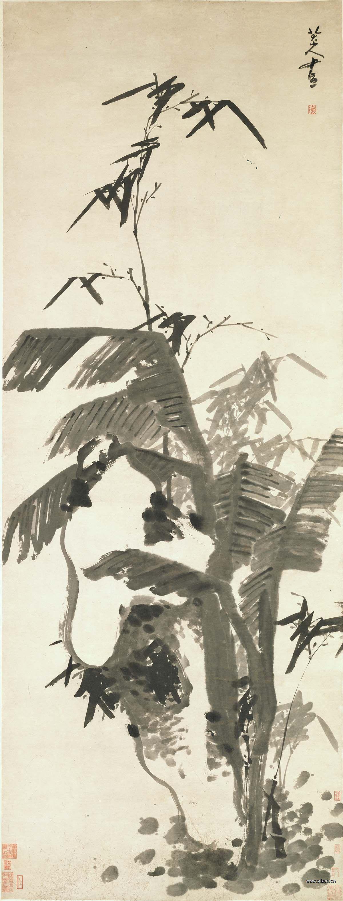 北京故宫 清 八大山人 芭蕉竹石图