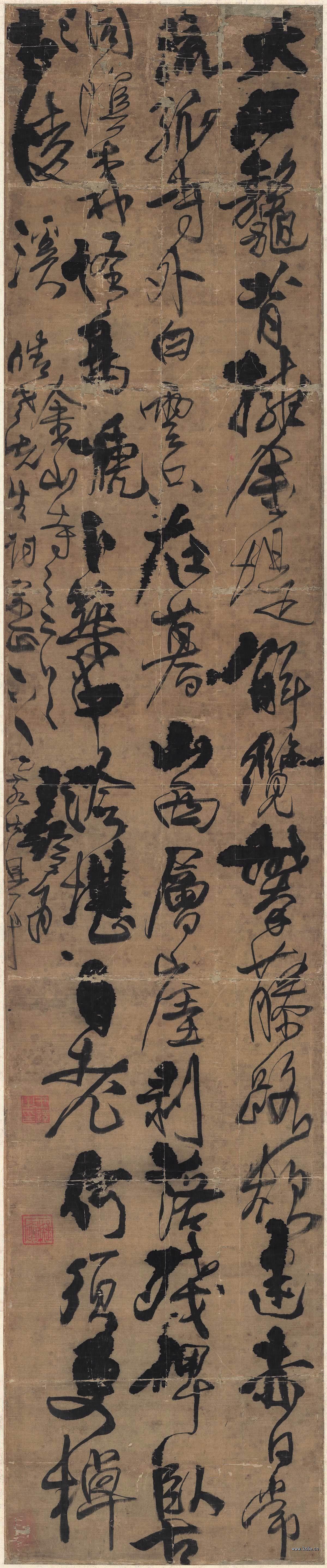 明 王铎 行书立轴绢本274x57.3