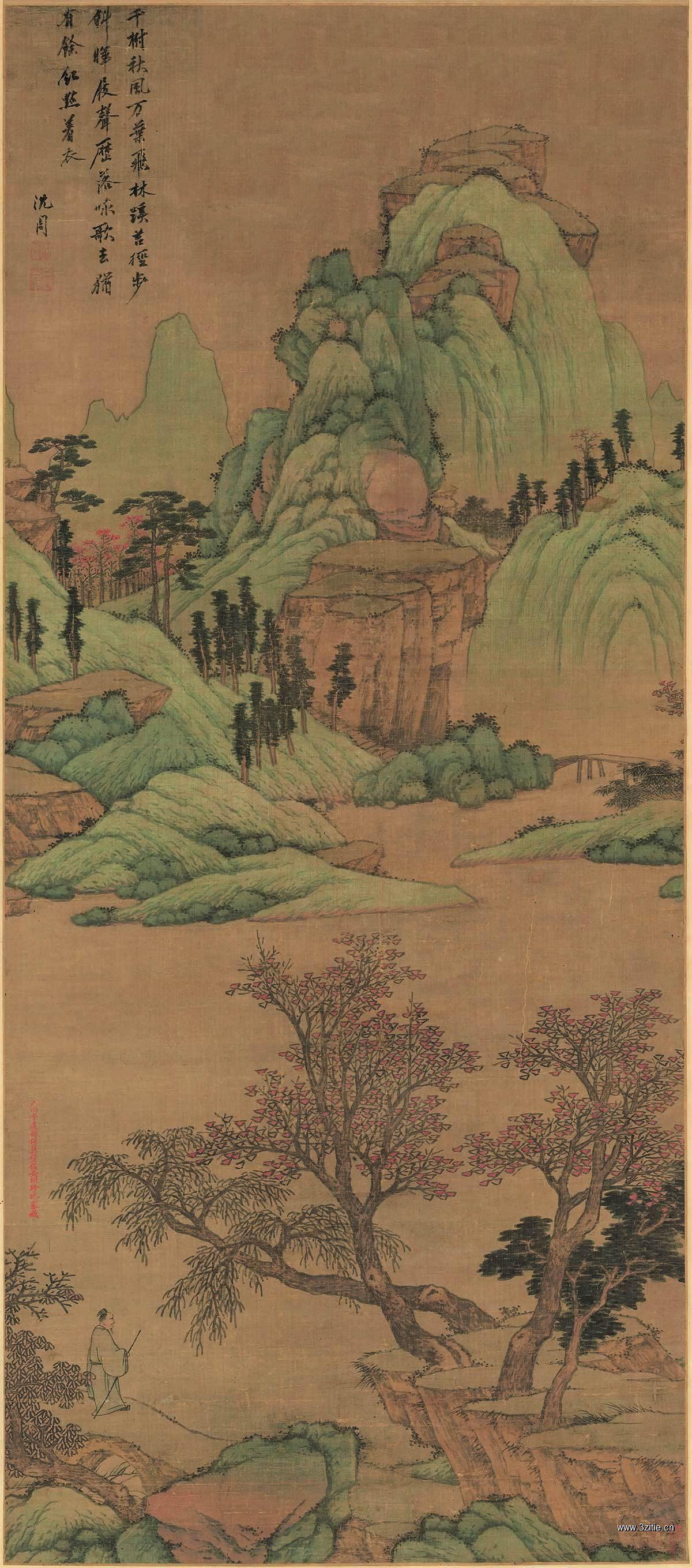 (玄)明 沈周 青山红树图(轴)绢本147x65