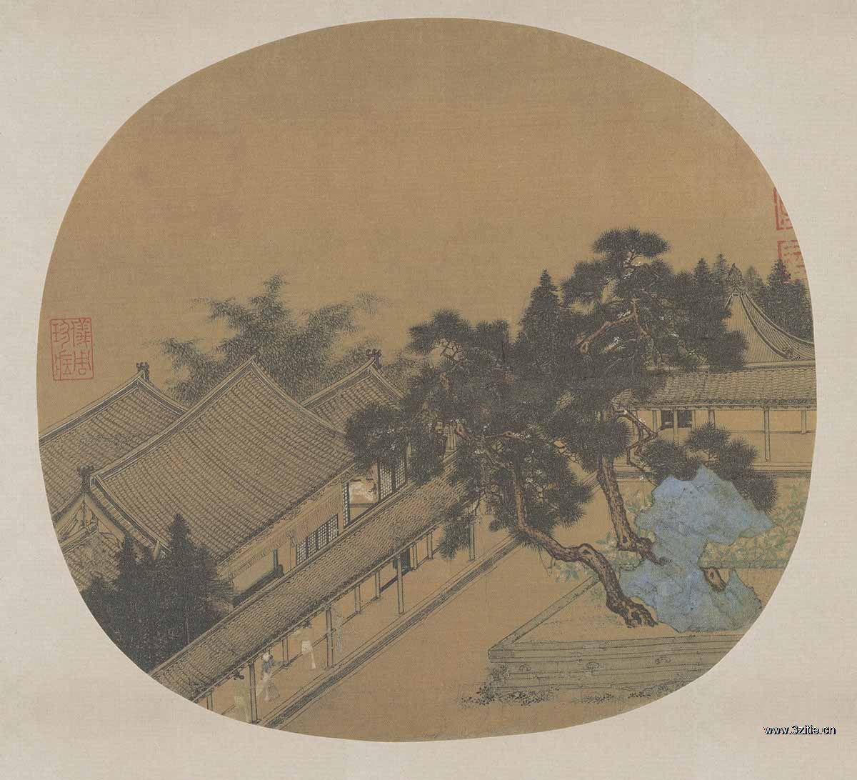 (玄)宋人 松阴庭院图绢本24×25.7
