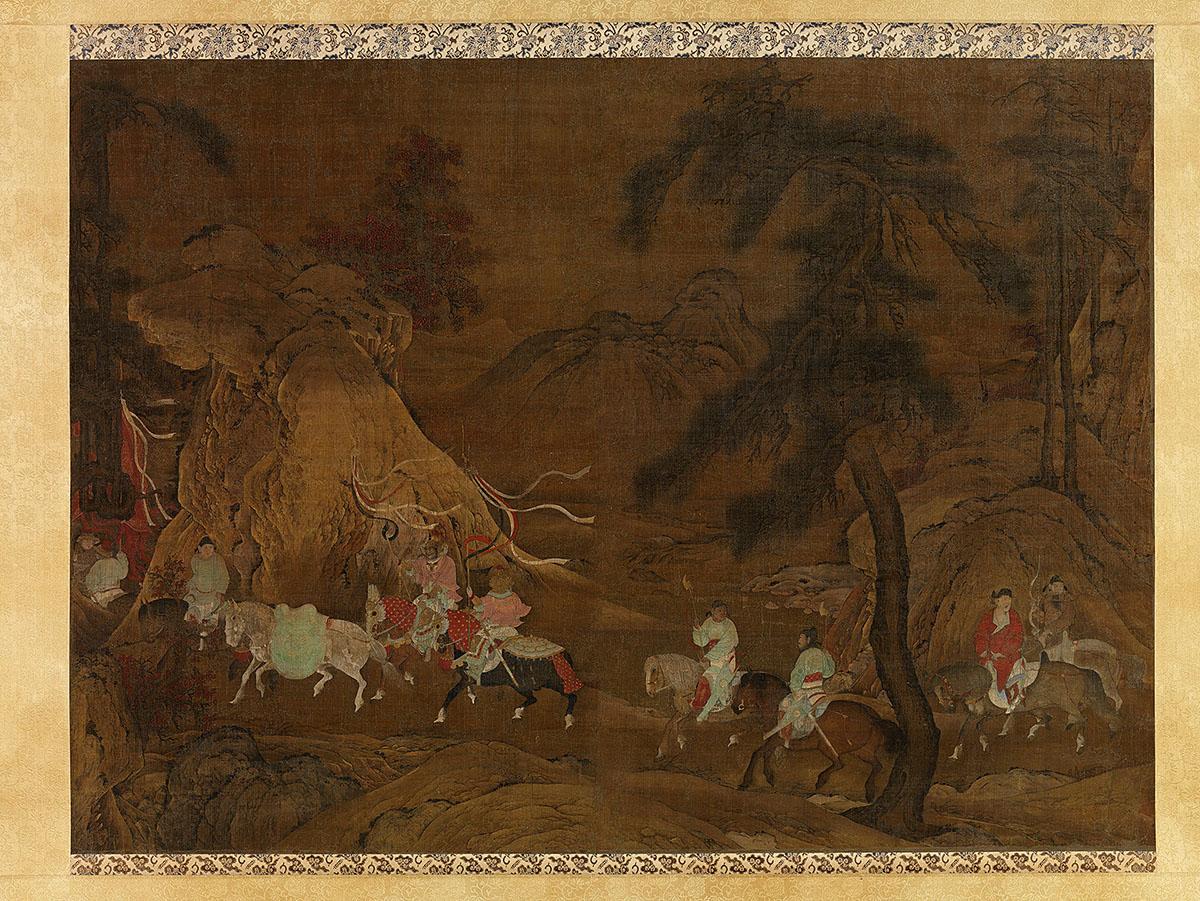 明 佚名 明皇幸蜀图轴 绢本33x45.tif