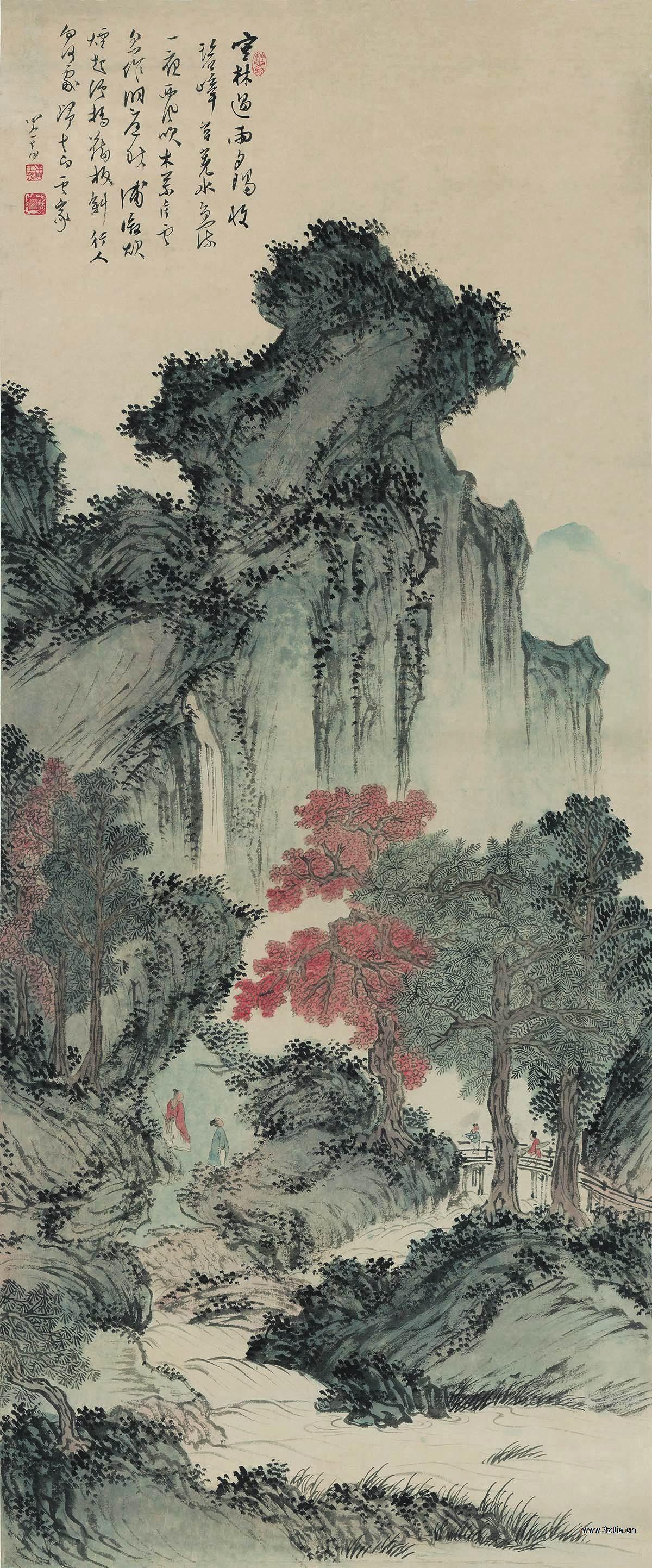 近现代 溥儒 丛林遇雨图 纸本55.2x132.8