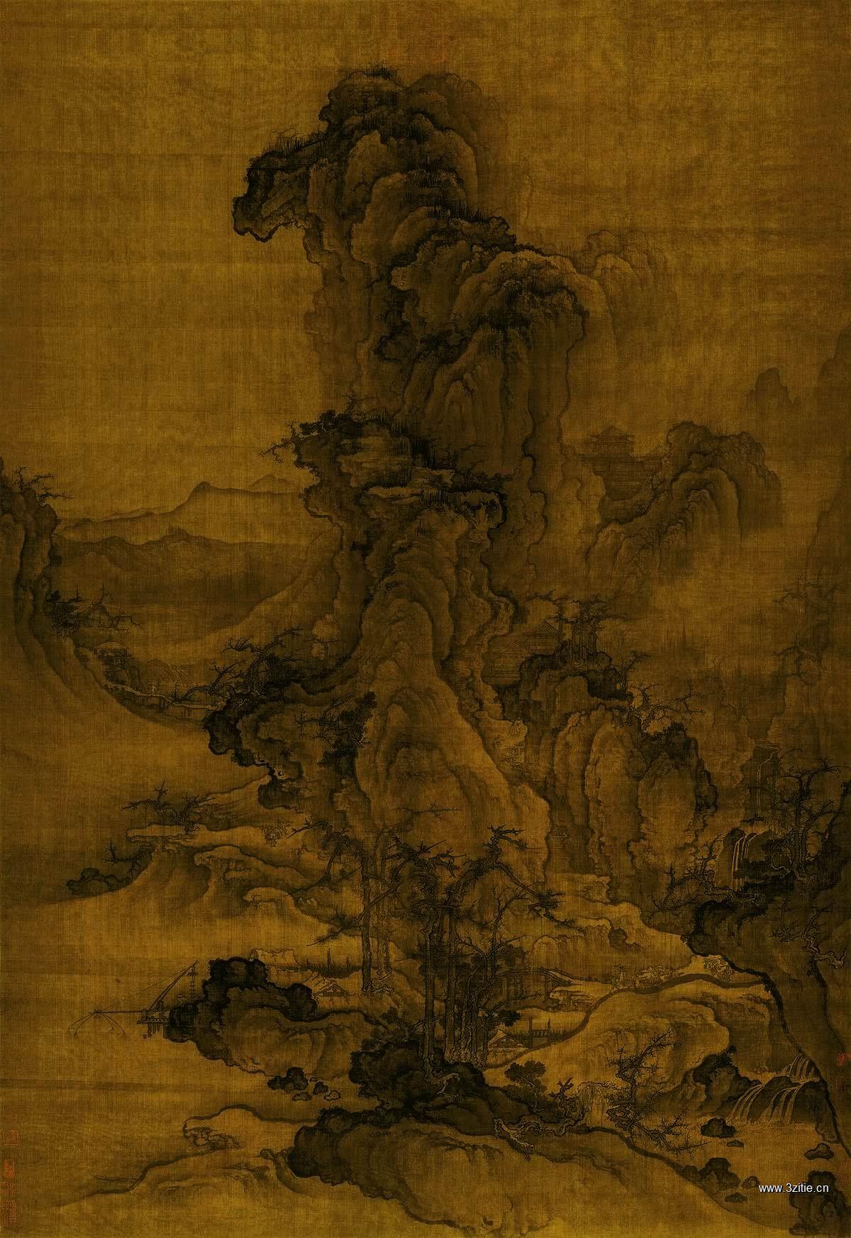 北宋 郭熙-秋山行旅图绢本141x97海外遗散