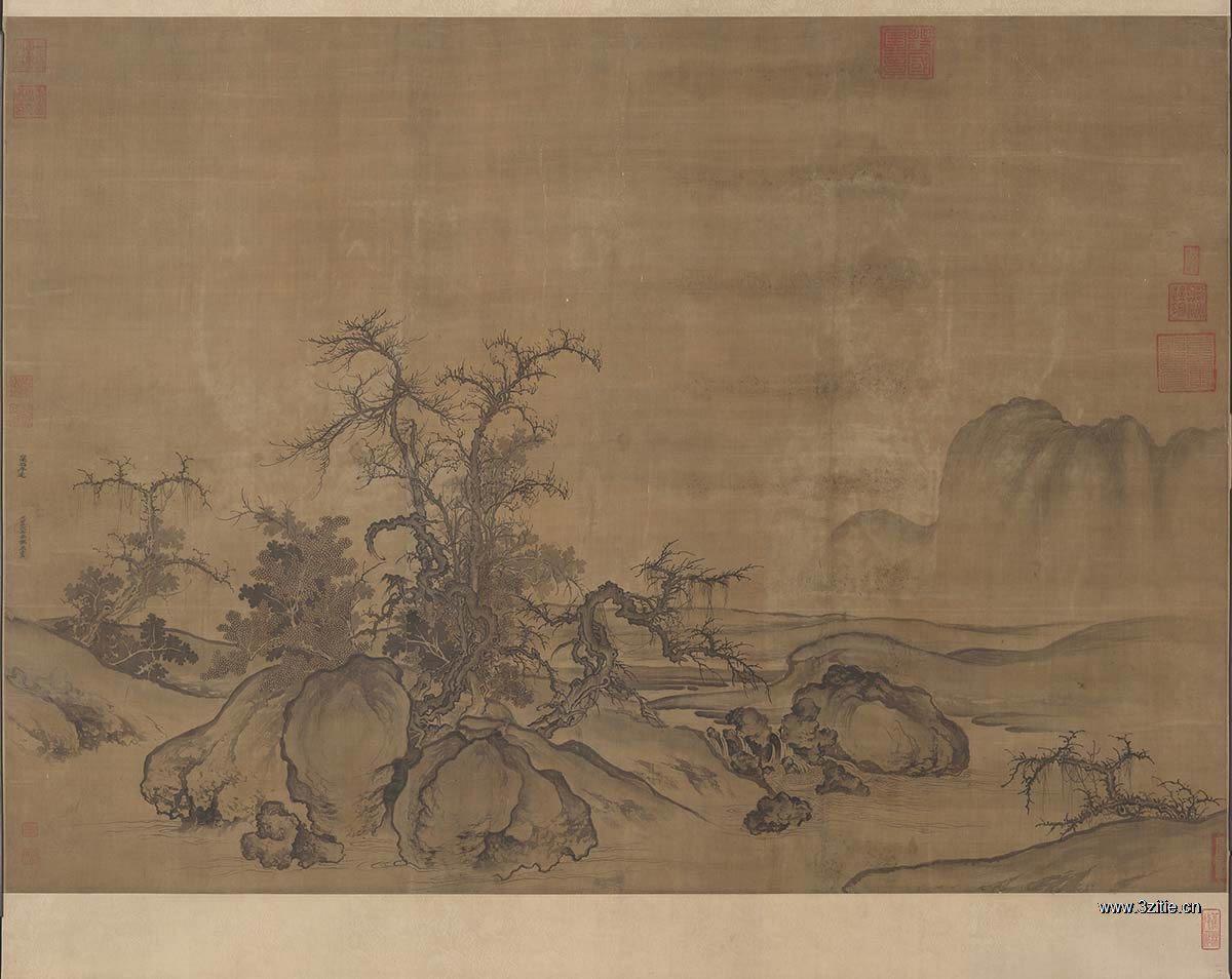北宋 郭熙 窠石平远图卷绢本120.8x167.7北京故宫博物院