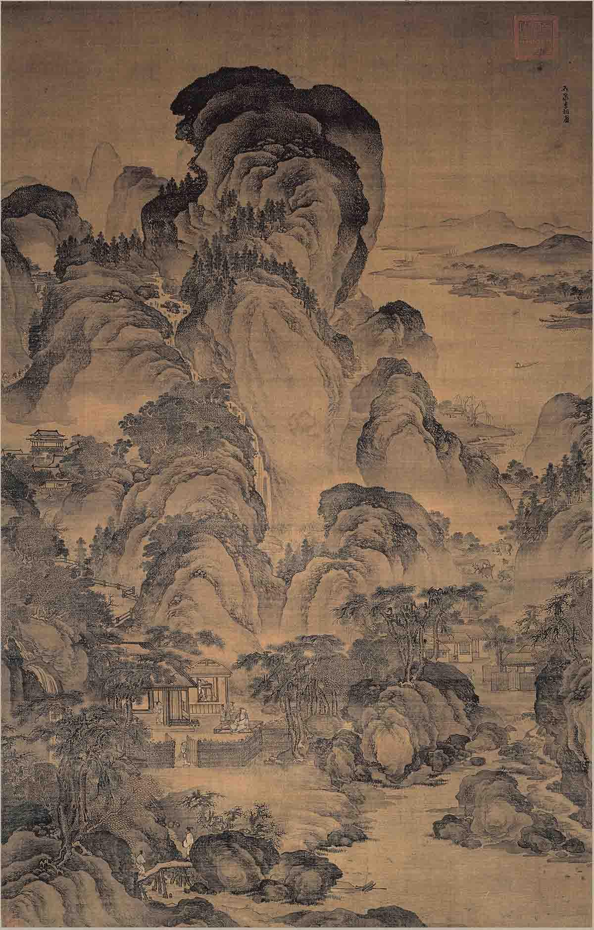 明 佚名(旧传李相)东篱秋色图绢本72x46