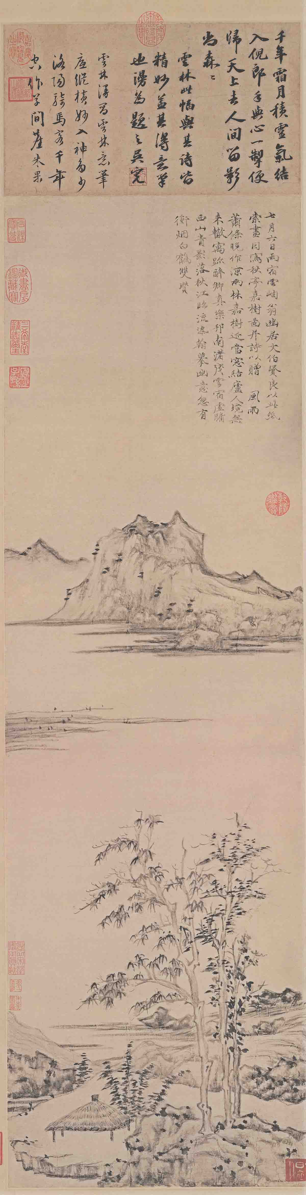 元 倪瓒 秋亭嘉树图(轴)纸本144x34.3.tif