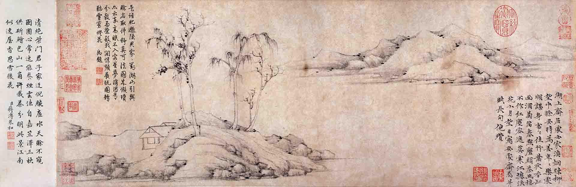 元 倪瓒 安处斋图卷纸本29×605