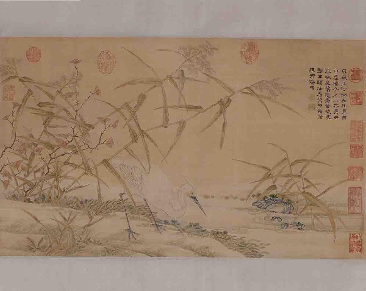 清乾隆 缂丝乾隆御制诗鹭立芦汀图轴40x67北京故宫