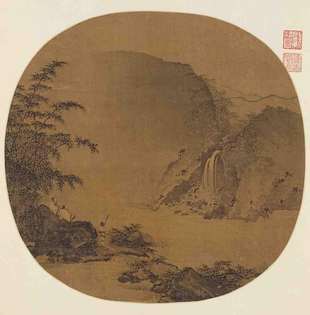宋 佚名 高士观瀑图 25.1x25.7