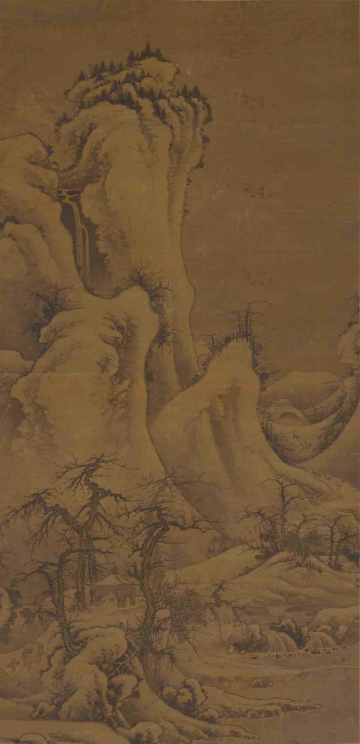 元 郭熙 雪山行旅图轴(原大)202x97