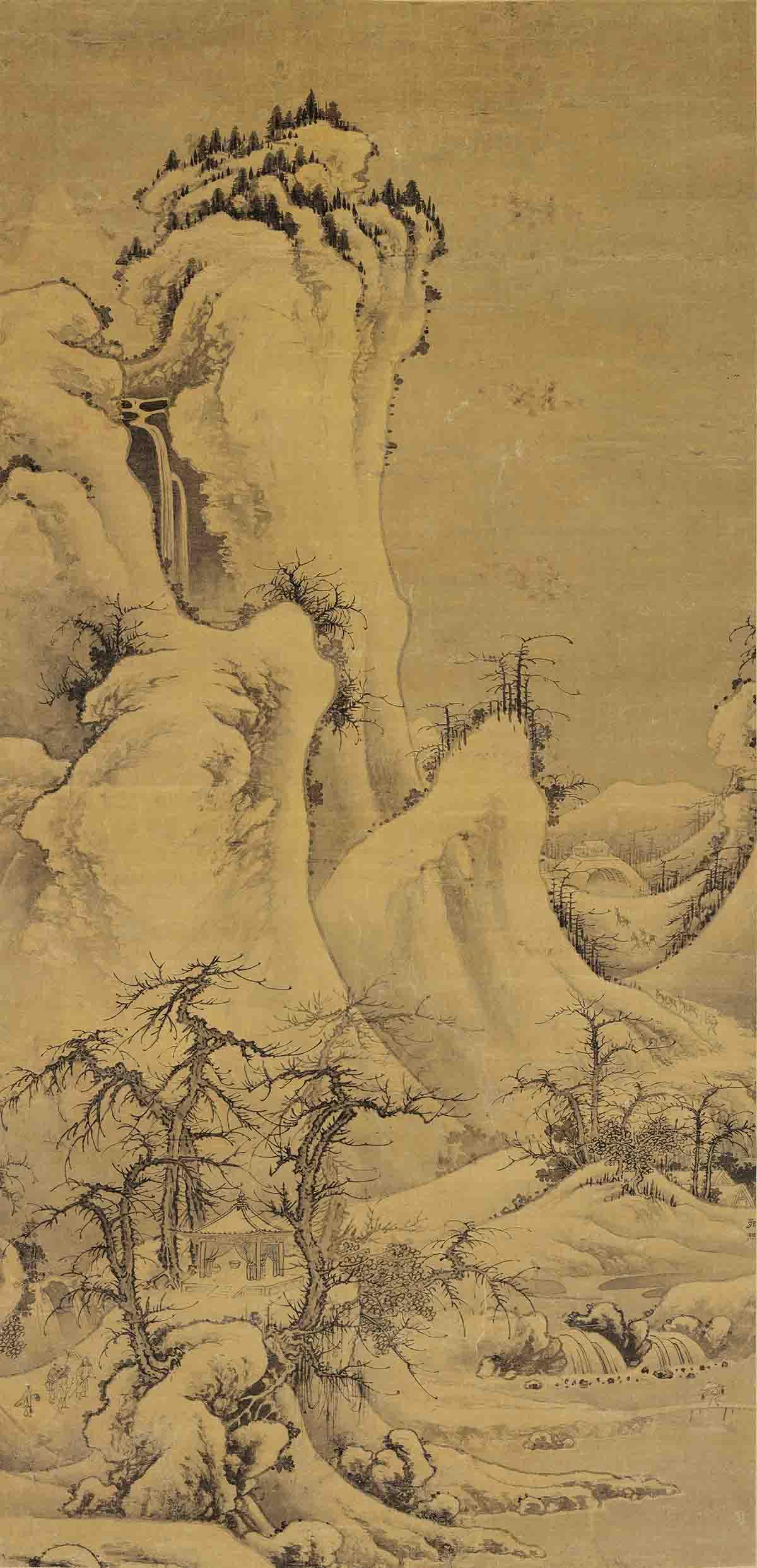 元 郭熙 雪山行旅图轴绢布 51.5x106
