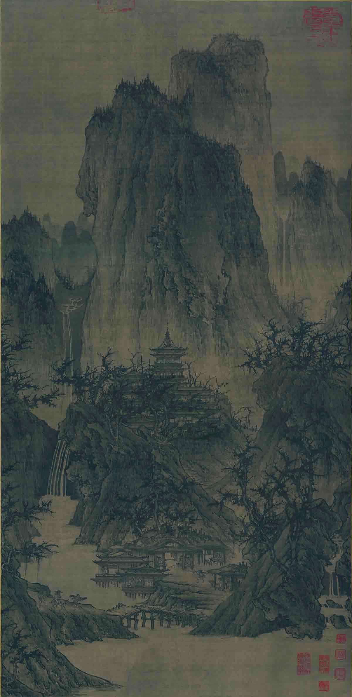 北宋 李成 晴峦萧寺图 绢本56x111.8 美国纳尔逊美术馆