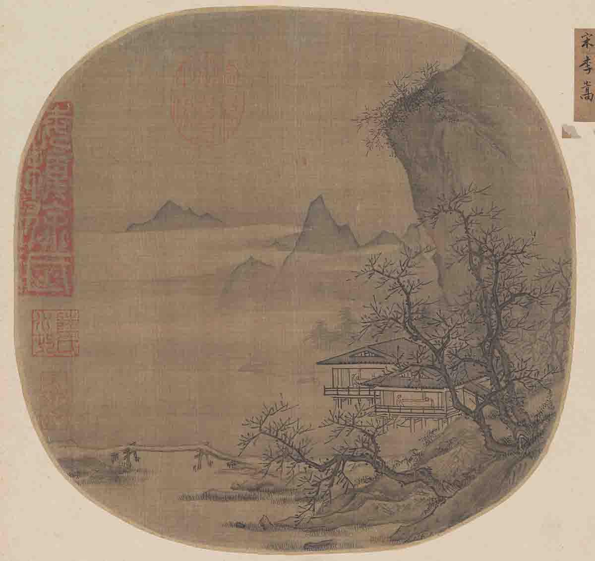 宋 李嵩 溪山水阁图页绢本24.2x24.7