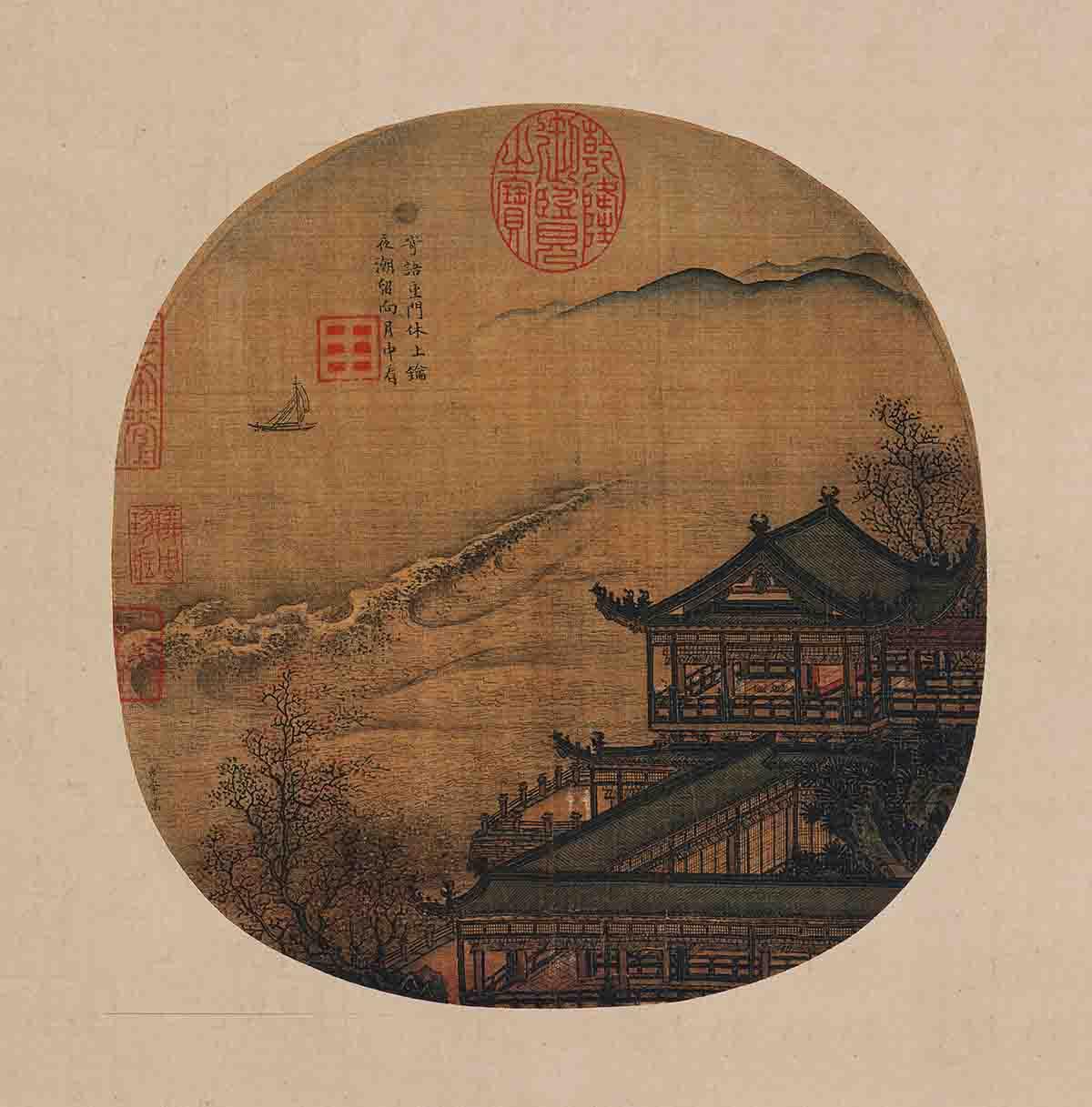 宋 李嵩 月夜看潮图22.3x22台北故宫博物院