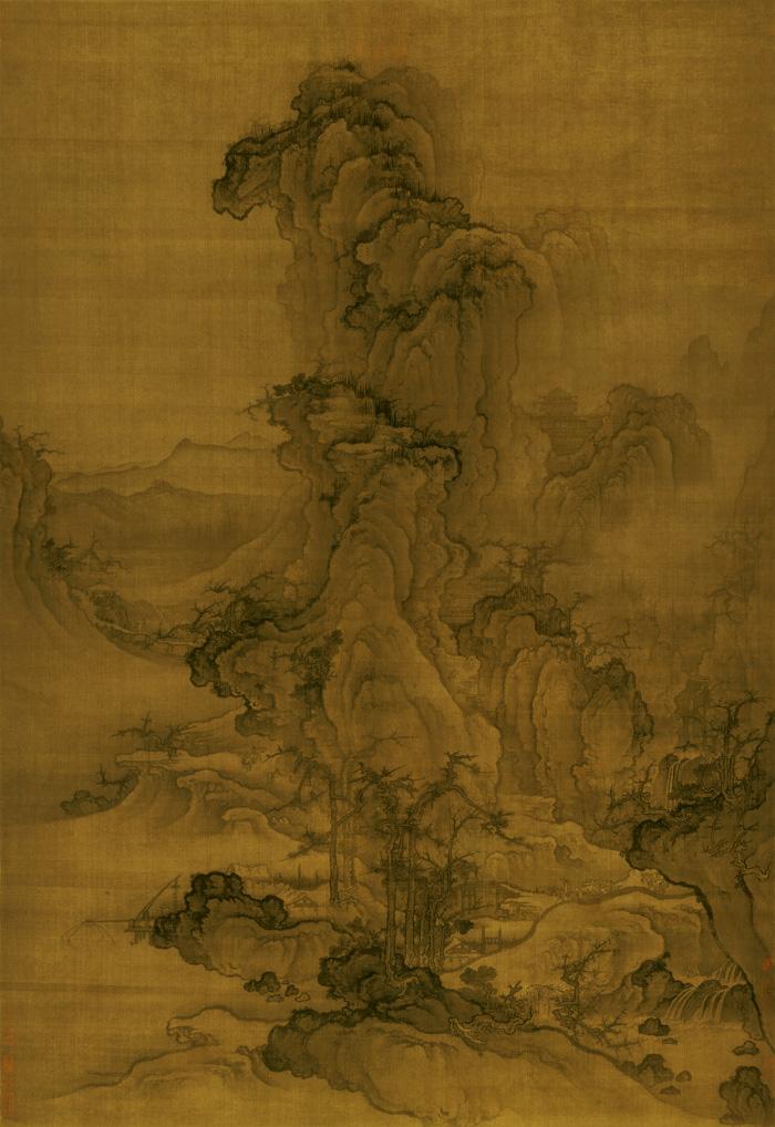 郭熙 秋山行旅图 绢本 97×141