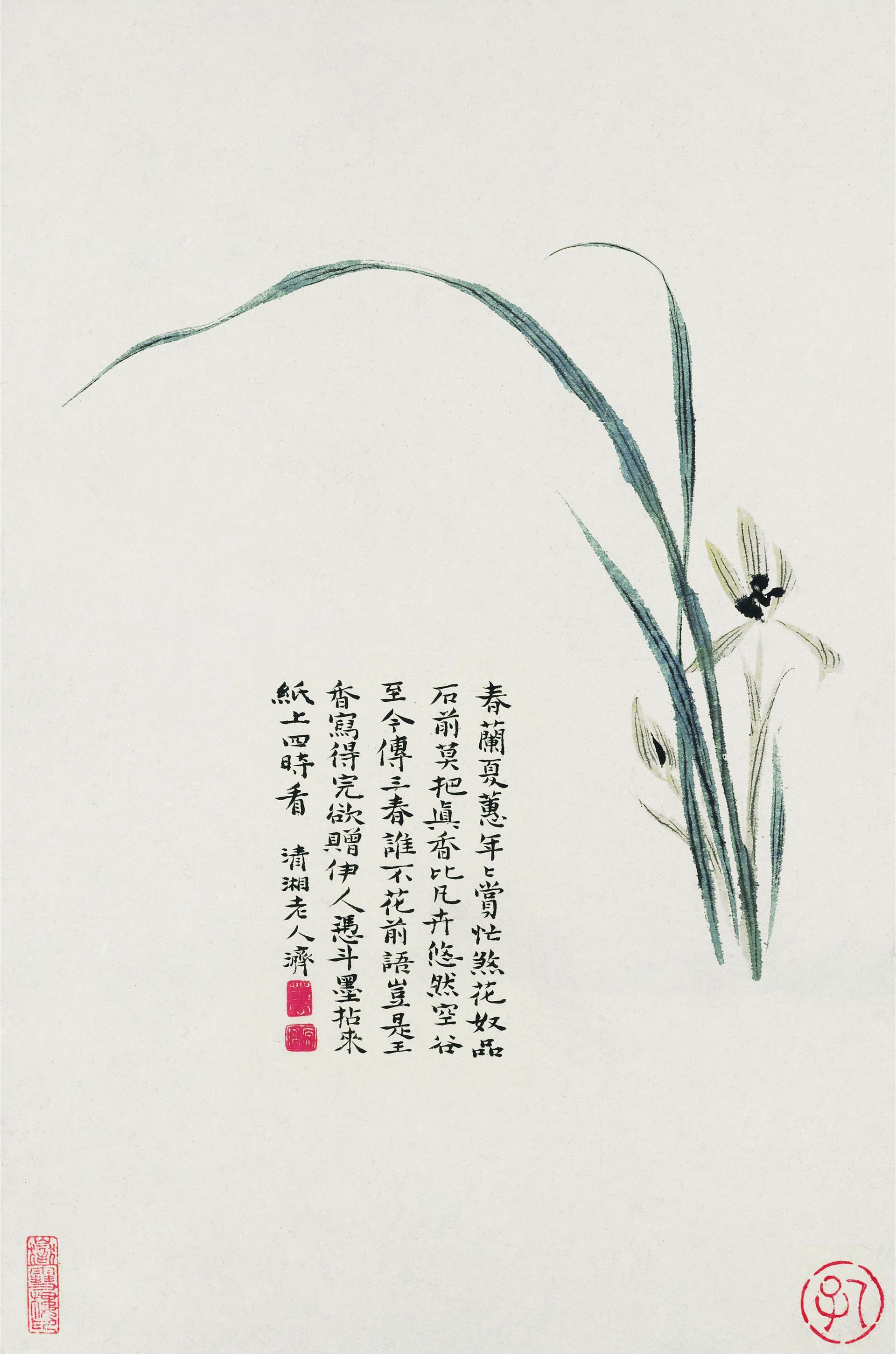 国画花卉十联调色版高清国画