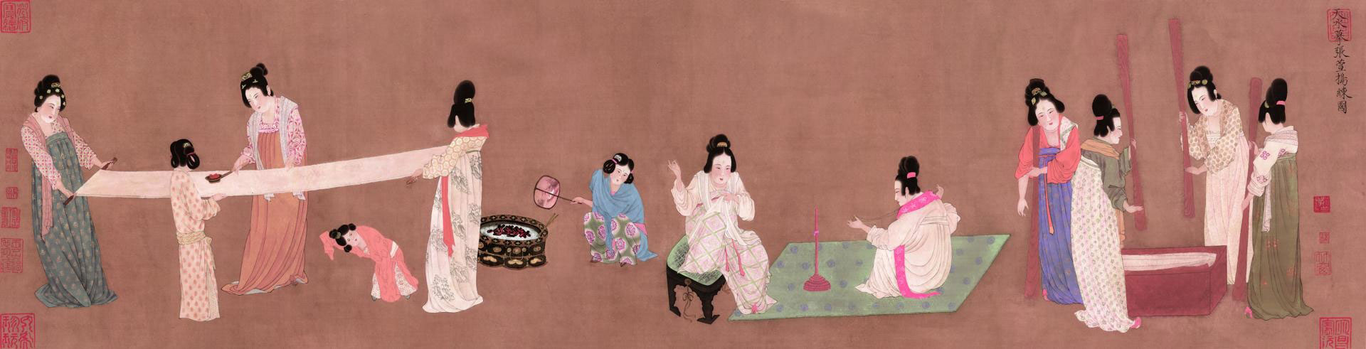 新中式古代国画名画五联画调色版TIF