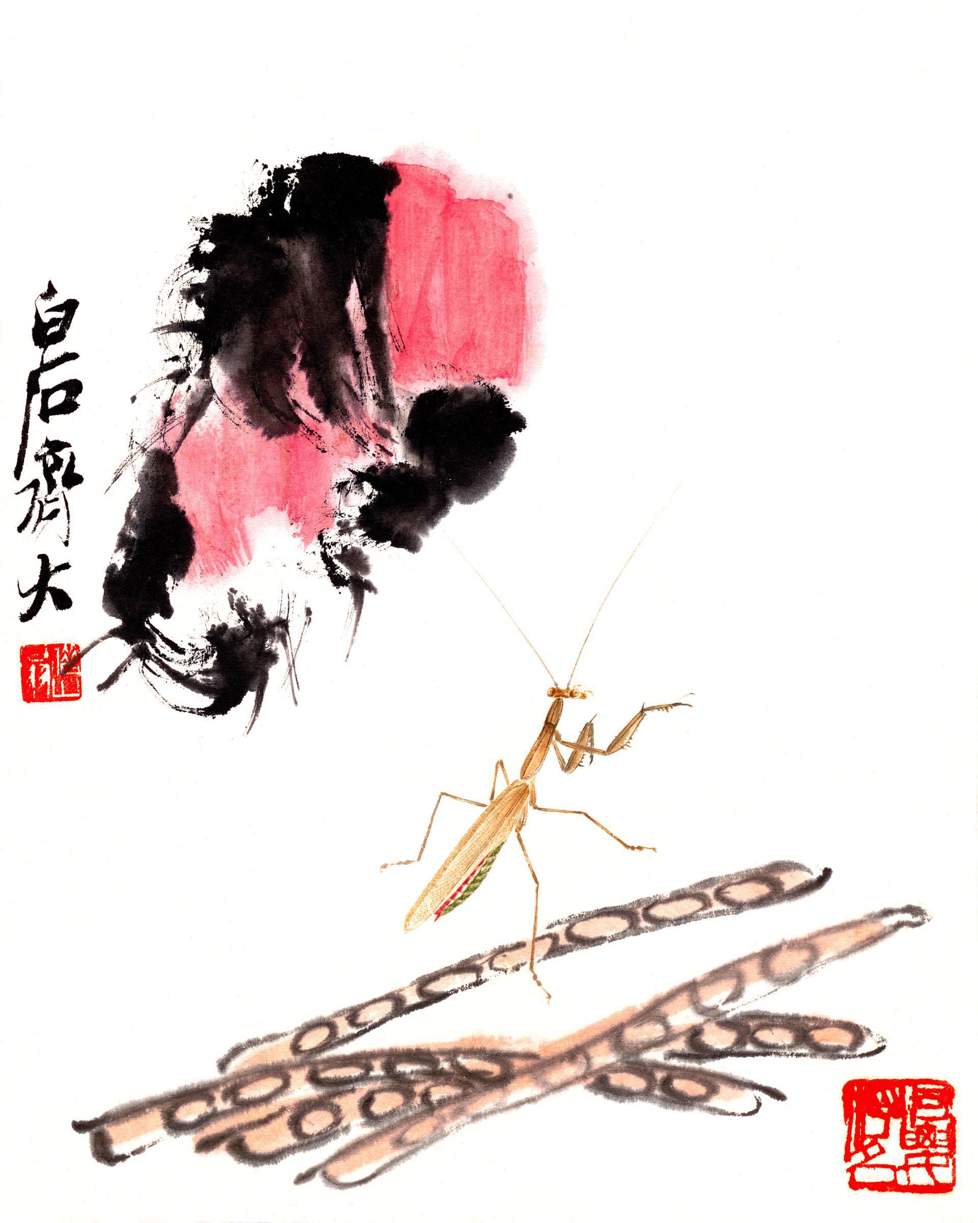 三典轩原创精修调色版齐白石工虫八联画