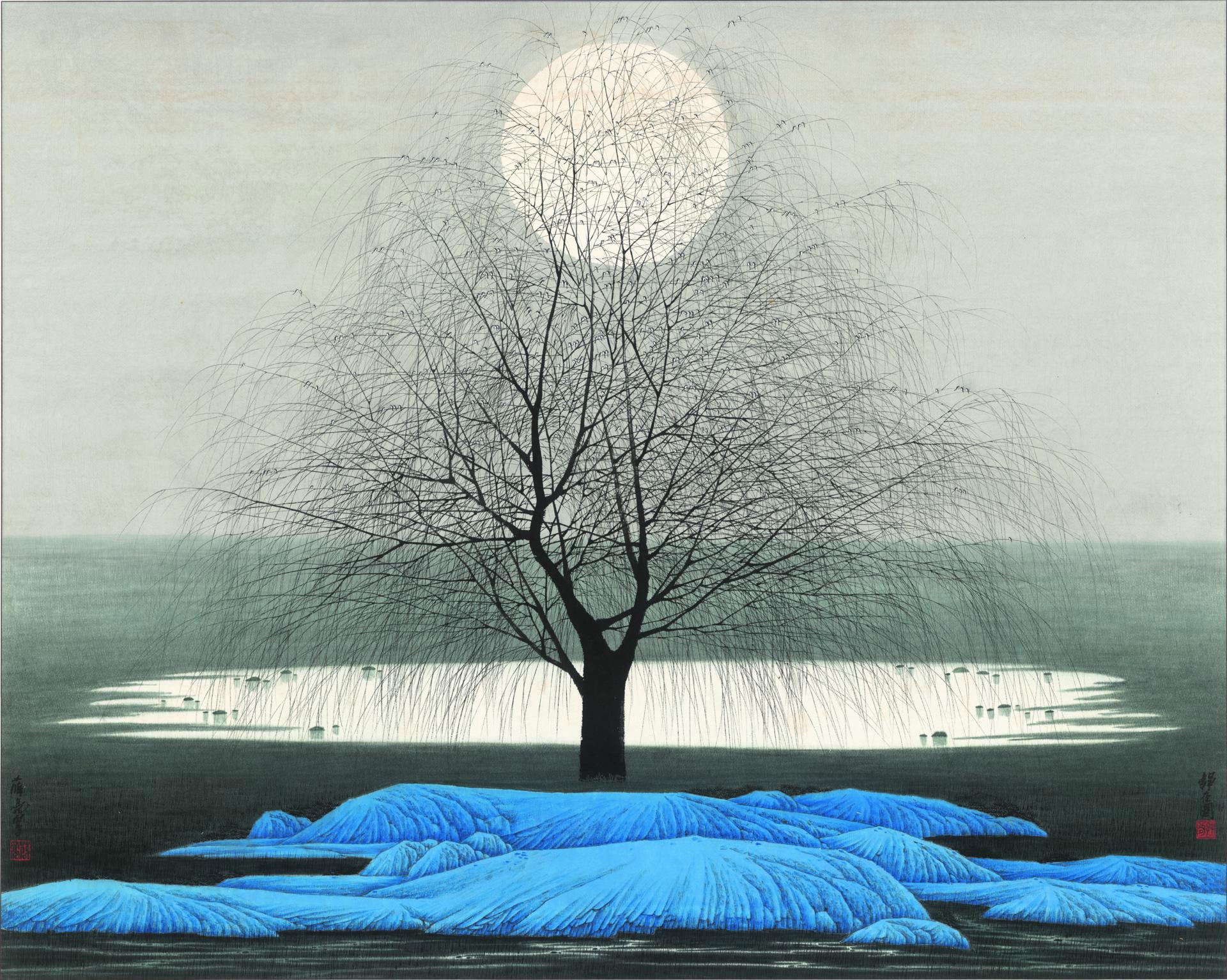 新中式装饰画静夜图