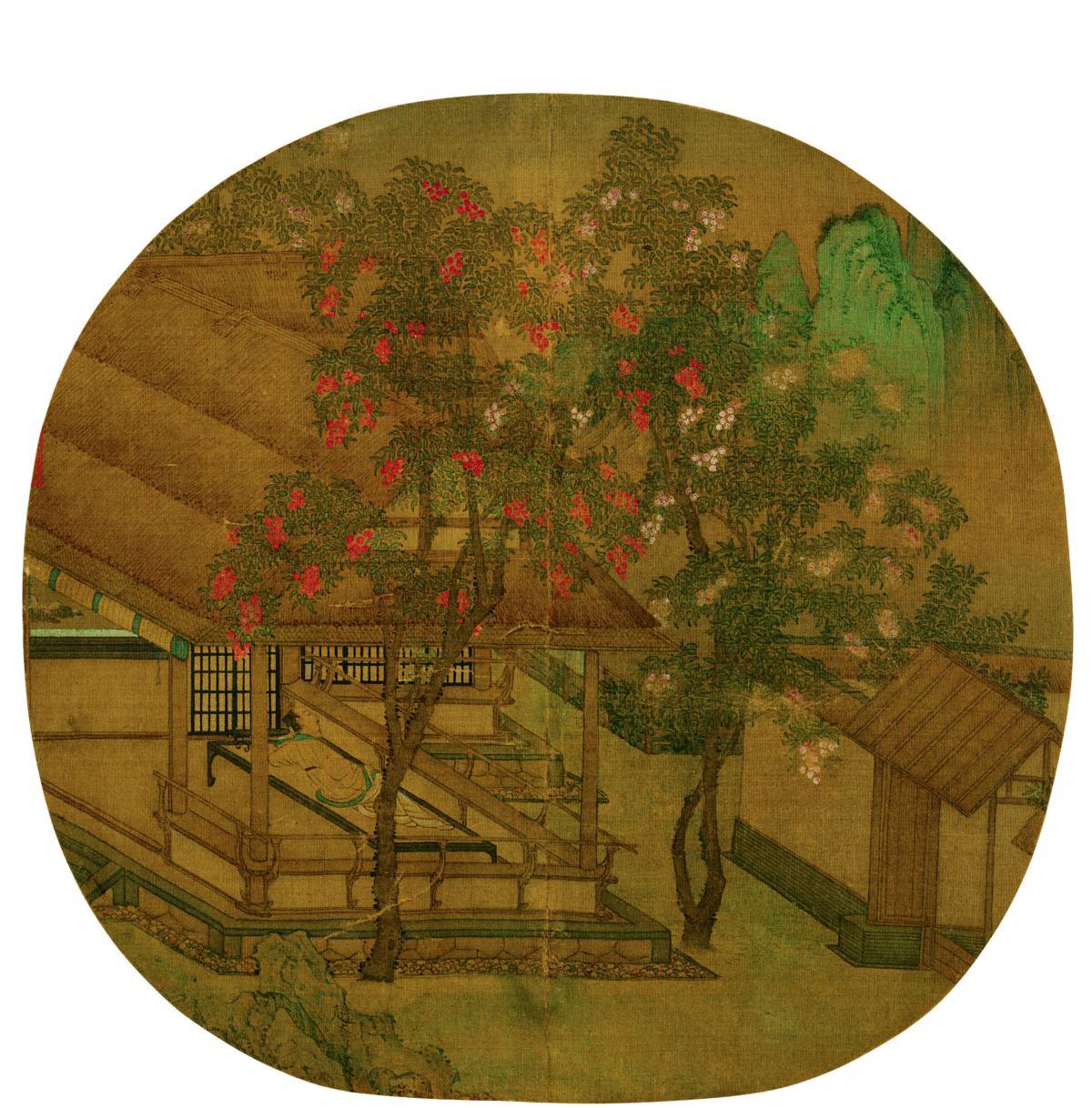 赵大亨 薇省黄昏图辽博 24.5x25 国画