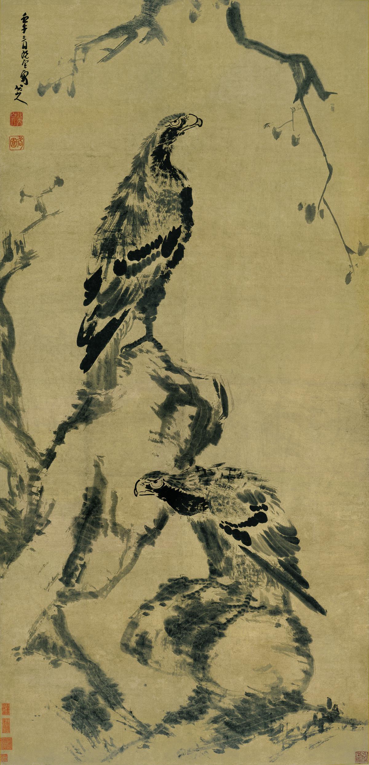 清 朱耷 古木双鹰图 纸本 168x80