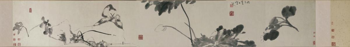 清  朱耷 猫石图纸本34x218