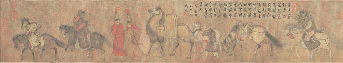 五代 (旧传胡环)番骑图 绢本26.2x143
