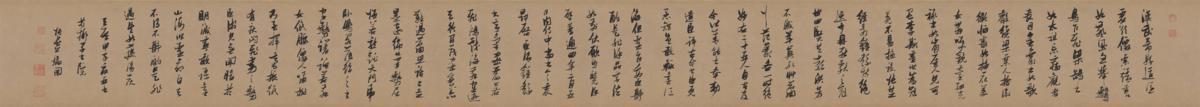 明 张瑞图  行书论书卷 绫本25x274