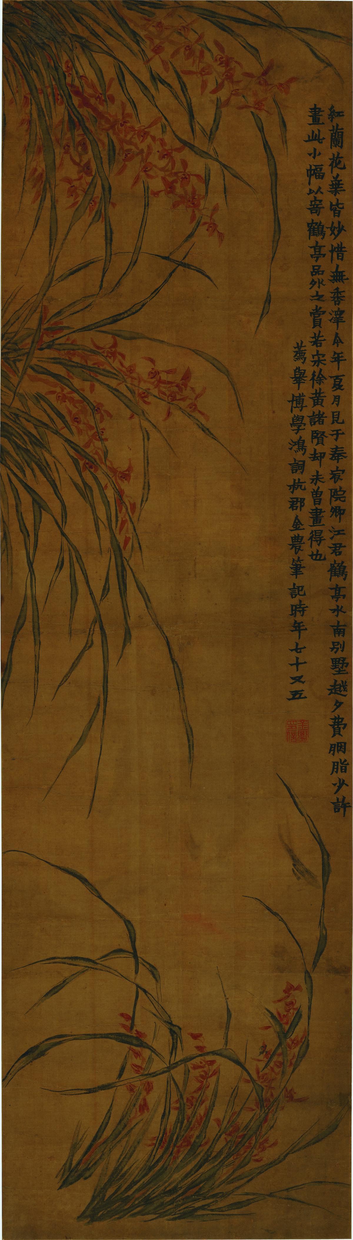 清 金农-红兰花图轴-X