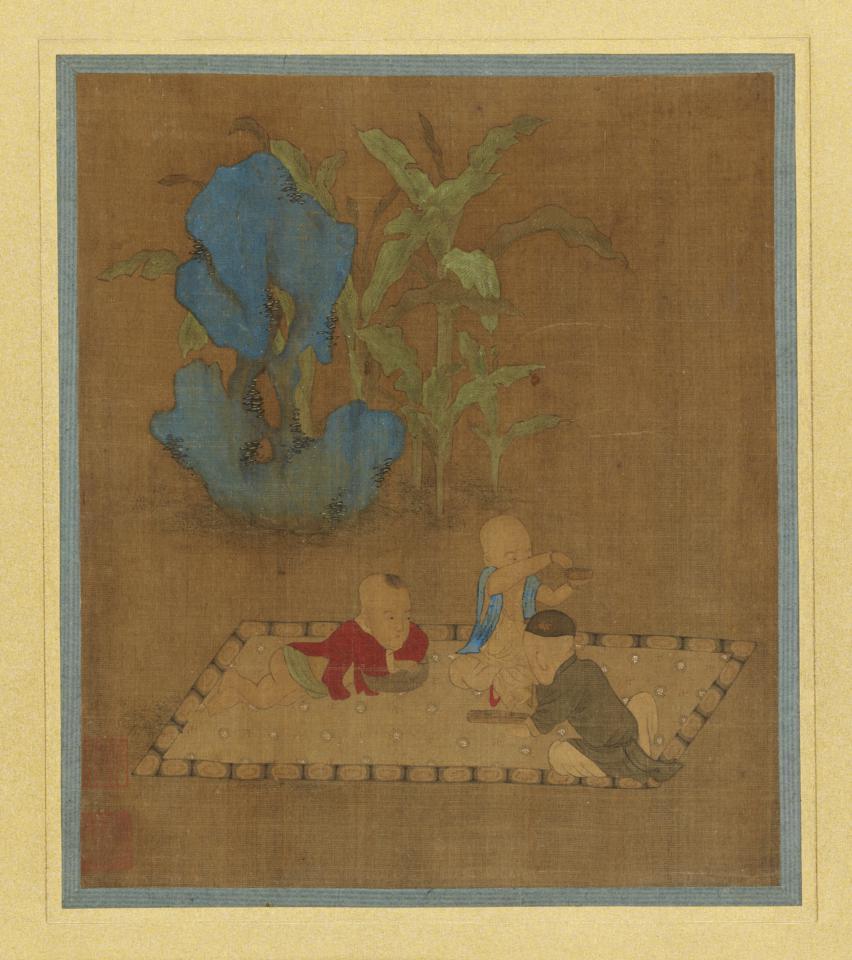 元 钱选 芭蕉唐子图 25.2×21