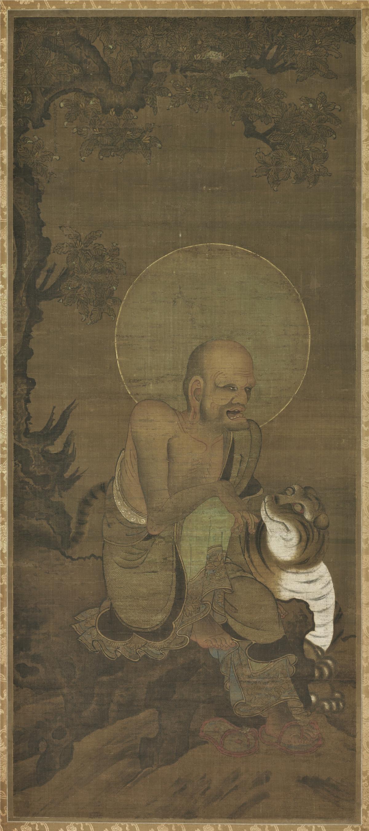 南宋 金大受 十六罗汉图第六尊者118.8×51.7