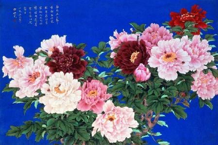 田世光 重彩牡丹 (绢本设色)1965年 中国美术馆馆藏