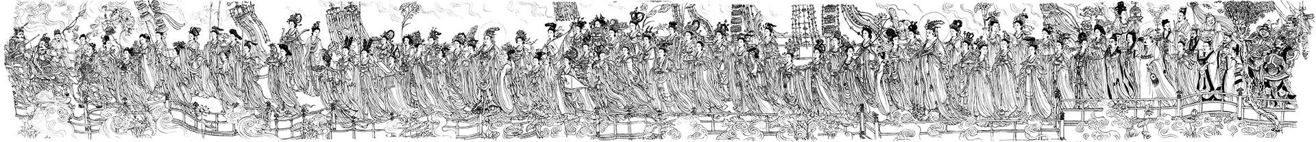 唐(传吴道子)八十七神仙卷白描图