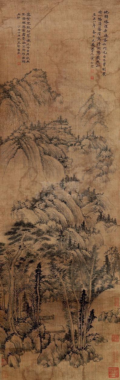 黄公望 山水 立轴 绢本作品欣赏