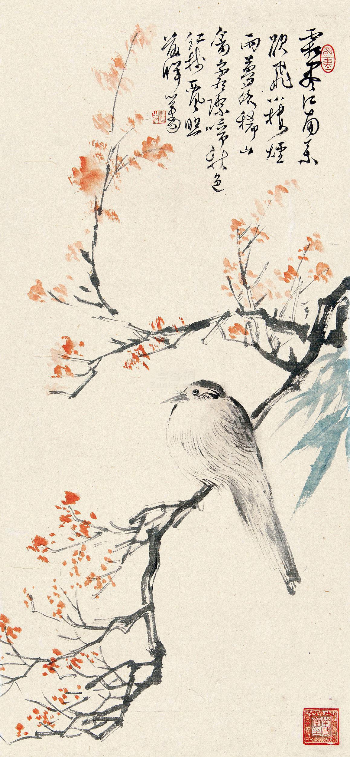 溥儒 红树楼禽 镜片 设色纸本作品欣赏