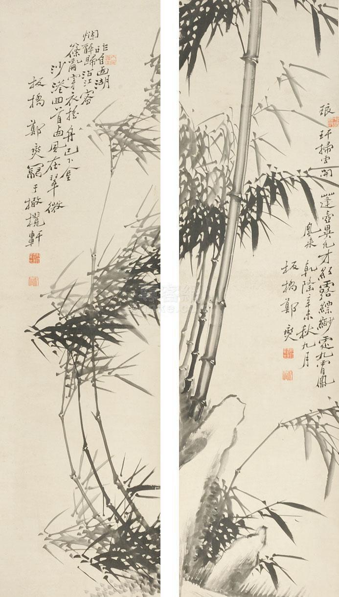 郑板桥 竹子 对屏立轴 纸本作品欣赏