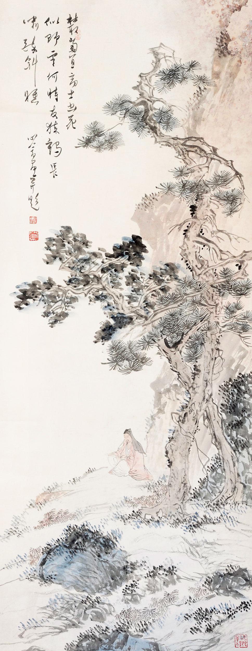 溥儒 高士冥思图 立轴 设色纸本作品欣赏