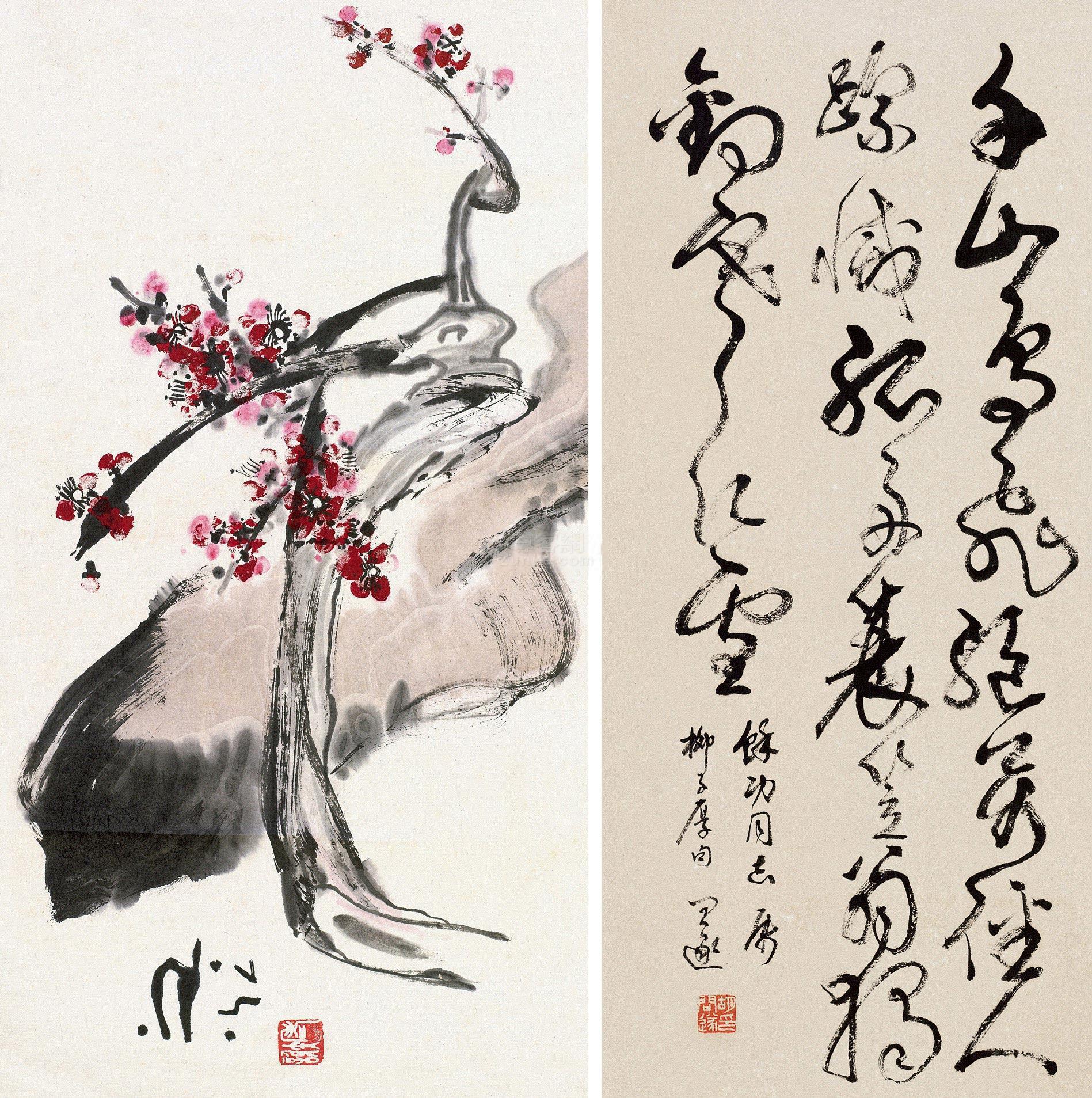 胡问遂 花卉 立轴 水墨纸本作品欣赏