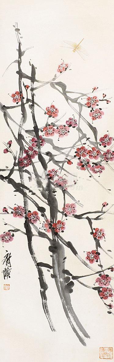 齐白石 梅花蜻蜓 立轴 纸本作品欣赏