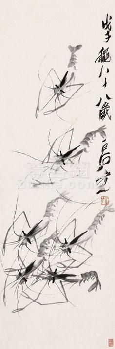 齐白石 虾 立轴 纸本作品欣赏