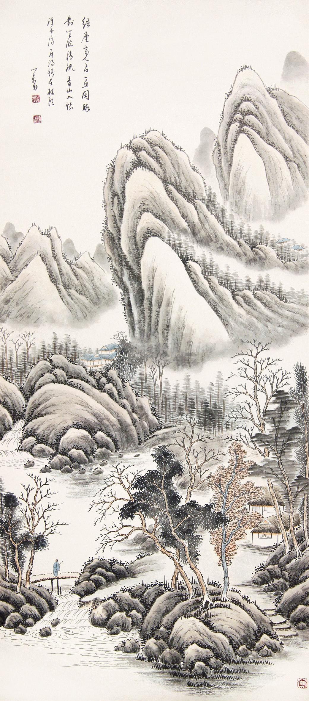 溥儒 松溪结庐图 立轴 纸本作品欣赏