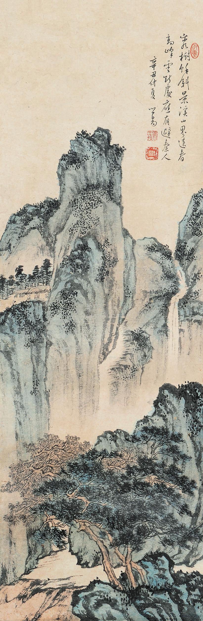 溥儒 溪山幽居 立轴 设色纸本作品欣赏