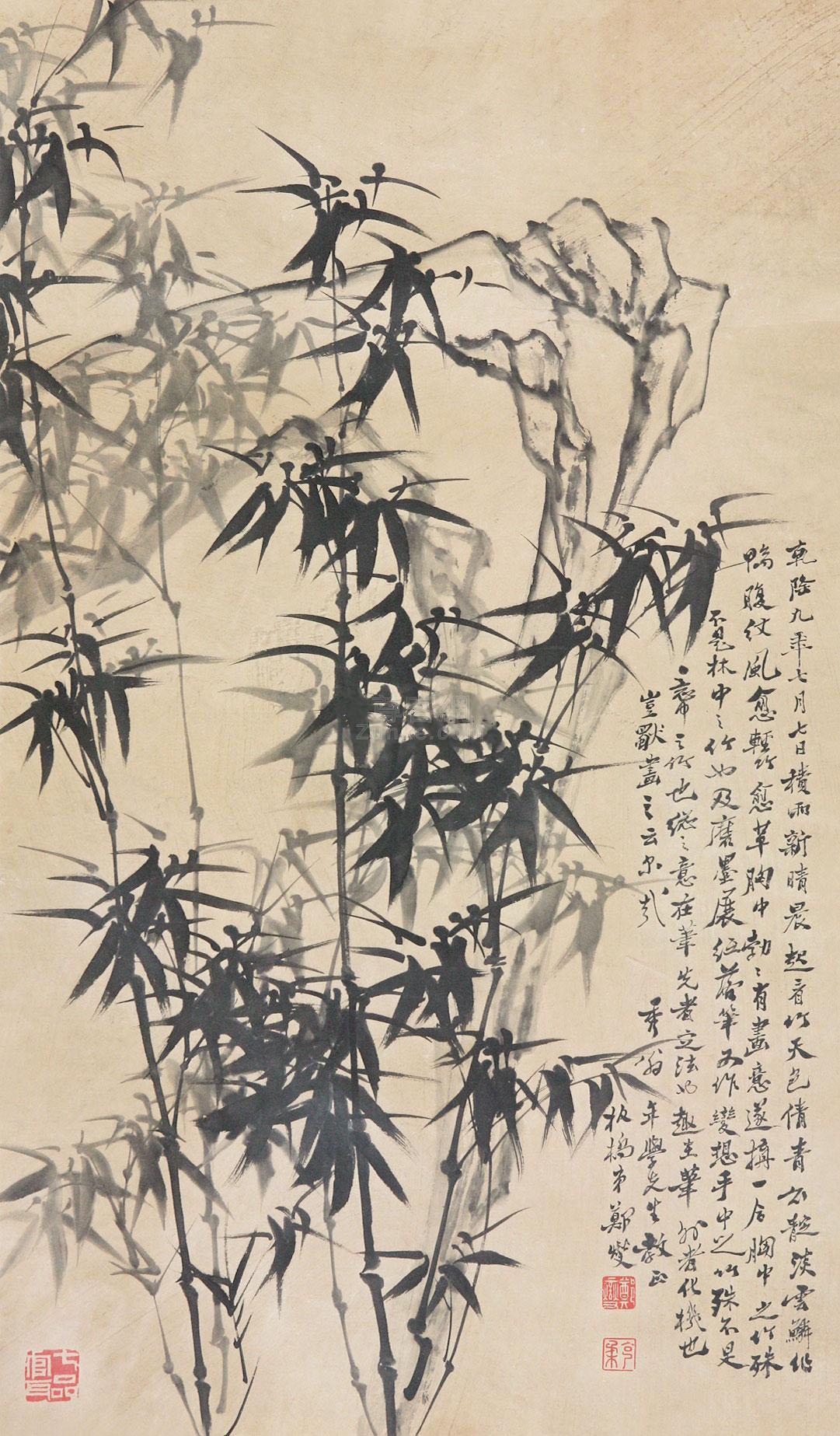 郑板桥 竹石图 立轴 纸本作品欣赏