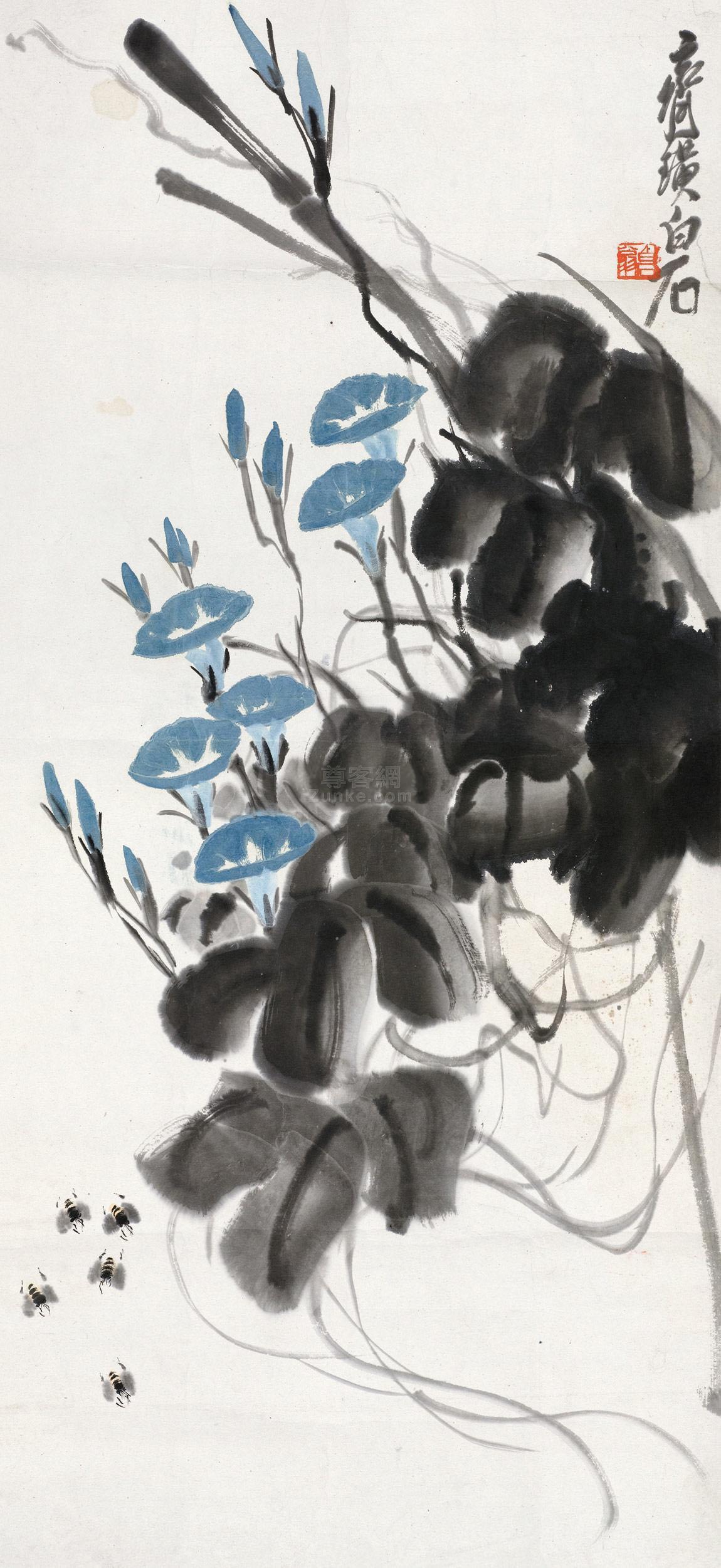 齐白石 蜜蜂朝颜 镜片 设色纸本作品欣赏